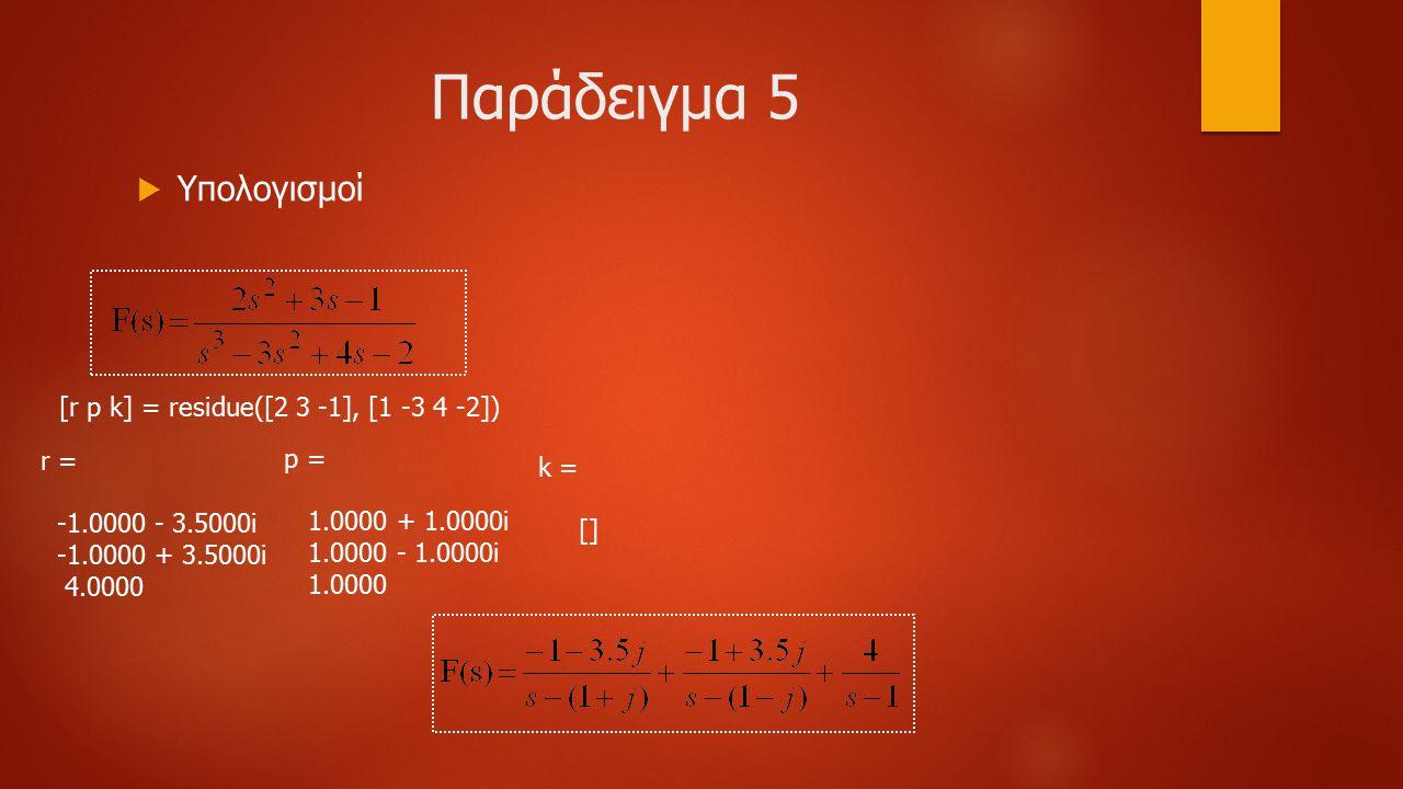 Παράδειγμα 5 Υπολογισμοί [r p k] = residue([2 3 -1], [1 -3 4 -2]) r =